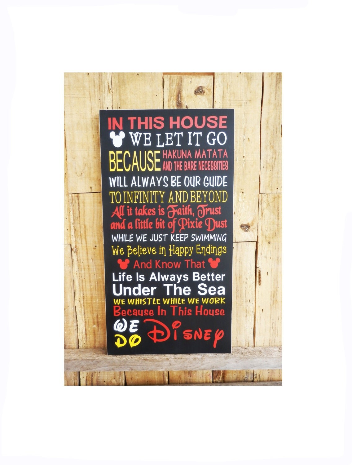 In This House We Do Disney Wood Sign Snow By