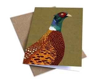 Pheasant Illustrated Card, Any Occasion Card, British Birds card, Bird Drawings, Game Bird Card, Bright & Colourful Card, Cute Gifts