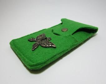 Housse  feutre de laine pour I phone 6 emblème Papillon