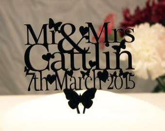 Personalised Mr & Mrs Wedding Cake topper - name and date