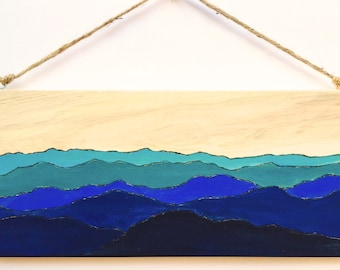 Blue Ridge Mountains Wood Burning and Acrylic Painting Original