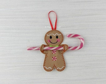 ONE Gingerbread Man Candy Cane Holder Christmas Xmas Tree Hanging Decoration or Stocking Stuffer Filler