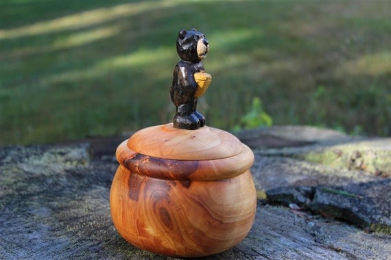 Lidded wood bowl turned silver maple box hand carved