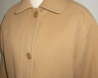25% Off Summer Sale Vintage womens camel coat by Classics 80s size large