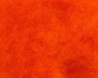 Needle Felting wool, Carded, Orange, 50 grams (1.75 oz)