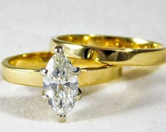 Vintage 14k Gold Diamond Engagement Ring and Wedding Band Set