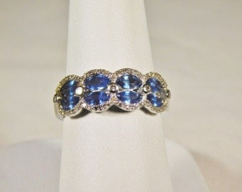 Ladies 14 Kt White Gold Diamond and Sapphire Ring