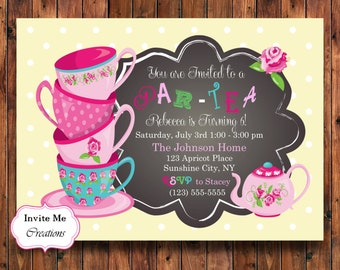Tea Party Invitation, Tea Party Invite, Tea Pot Invitation, Birthday Invitation, Tea Party Theme, Tea Party Shower, Teacups Invite, Digital