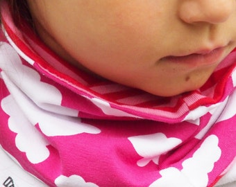 Toddlers and kids scarf circle, little girl loop scarf. Reversible: Pink with white Clouds + red/pink Stripes