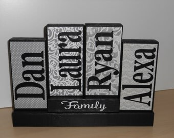 Our Family name wood blocks, Family name blocks, wooden blocks, Family name wood sign, wedding gift, christmas gift, Last name family blocks
