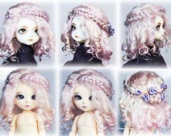 Long curly wig with  braids from angora mohair wig for bjd