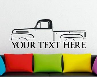 Large Custom car silhouette wall sticker - for Ford F-1 vintage 1st gen F-series pickup truck