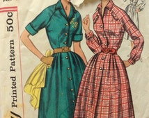 Simplicity 2184 vintage 1950's misses shirtwaist dress sewing pattern size 20 bust 40