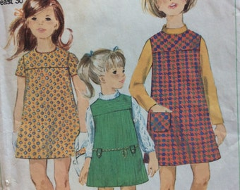 Simplicity 7226 vintage 1960's girls dress or jumper sewing pattern size 12 bust 30  Uncut  Factory folds