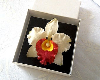 """Brooch """"White orchid""""- Floral brooch - Porcelain flowers - Floral jewelry"""