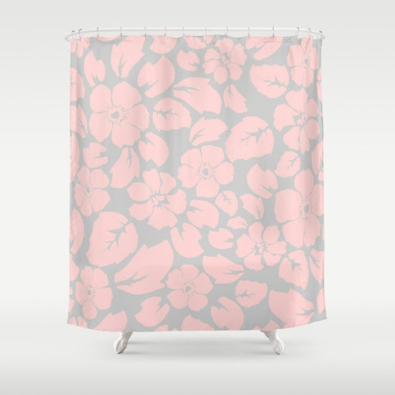 Pink And Gray Floral Shower Curtain Girls Bathroom Shower