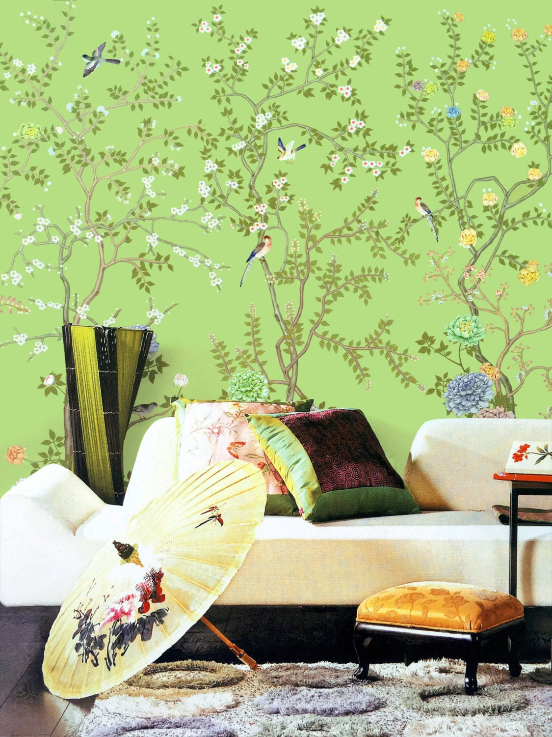Lemon green chinoiserie wallpaper exotic birds trees flowering for Asian wallpaper mural