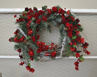 Red Floral Christmas Wreath