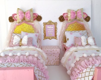 """Two beds American girl doll bedroom set, 18"""" doll bed, American girl doll bed, American girl bed, American girl furniture, pink and gold bed"""