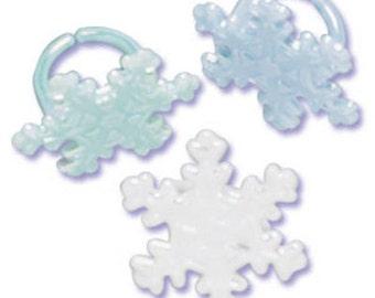 Iridescent SNOWFLAKES Cupcake RINGS