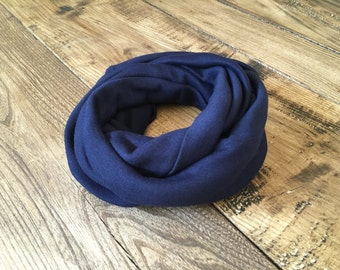 Navy blue cotton infinity scarf (baby to teen)