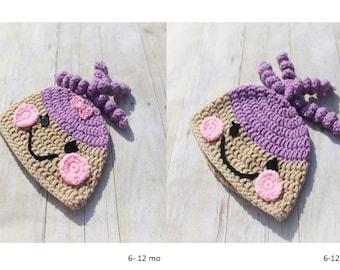 Lalaloopsy Crochet Hat, Purple Lalaloopsy Hat/Baby Crochet Hat/Lalaloopsy Beanie Hat/Crochet Baby Hat/Winter Hat/Ready to Ship/Photo Prop