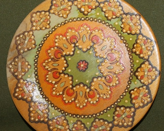 VintageHand Carved Pyrography Wood Plate