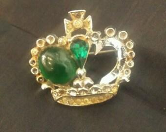 5.3g 1in jeweled crown fashion jewelry brooch KM7315