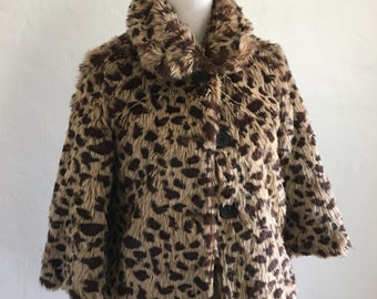 Cropped Faux Fur Vintage Style Leopard Pin-Up Coat