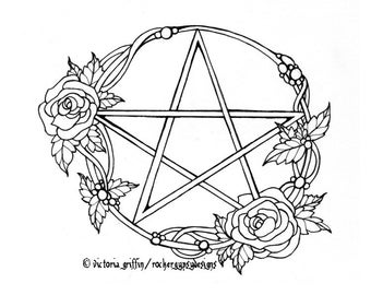 Pagan Wiccan Wicca Pentacle Printable Adult Coloring Colouring Page