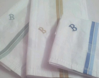 3 Pcs Cotton Large White Handkerchiefs Initial B Monogrammed Embroidered Hanky for Men Gift Hankie Set
