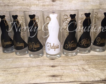 Wedding Glasses, Personalized Bachelorette  Shot Glasses, Wedding Party Glasses, bridesmaid gifts, Engagement,Gold Wedding