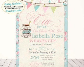 Tea Party Birthday Invitation Tea For Two Birthday Invitation Shabby Chic First Birthday Invitation Vintage Tea Party invitation Floral lace