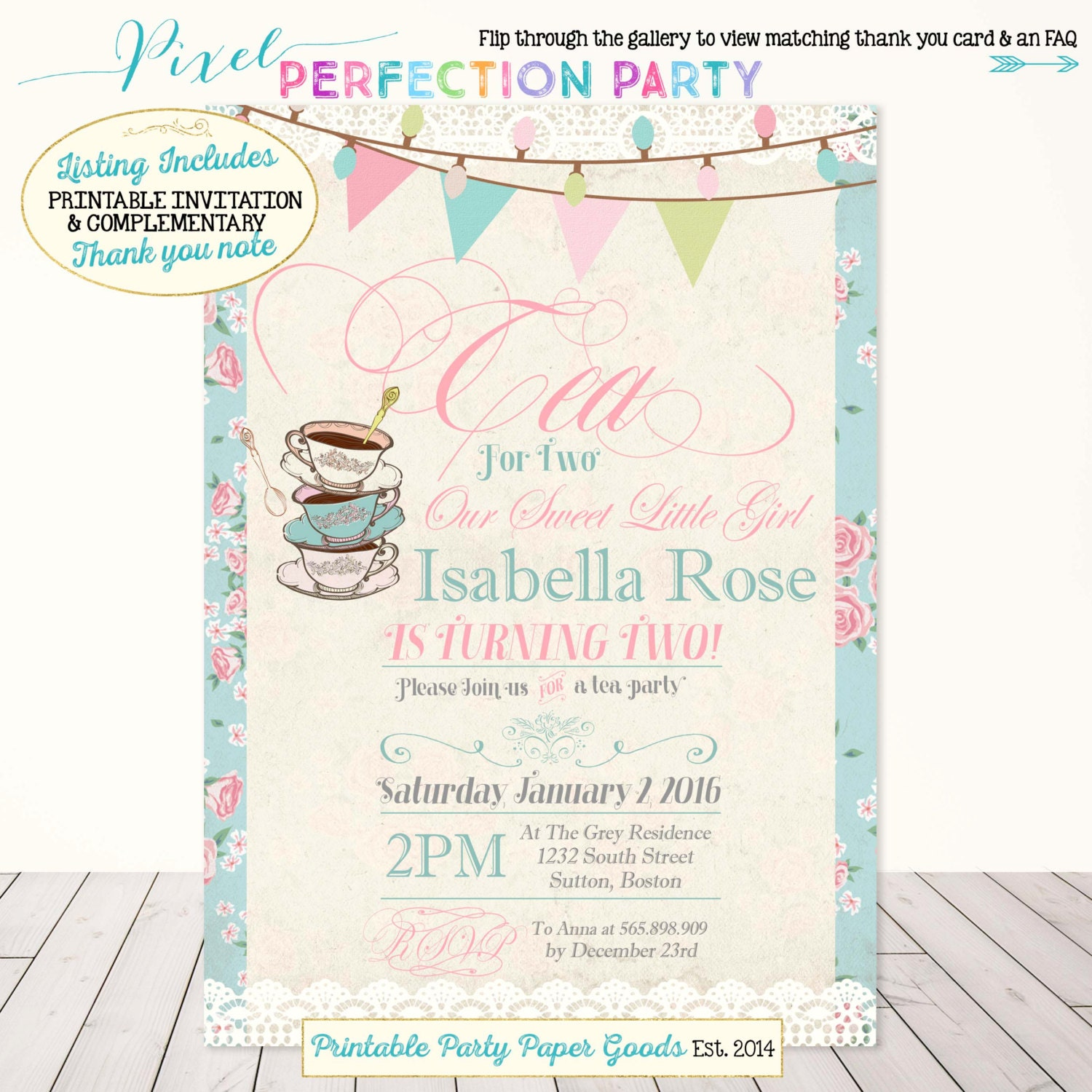 Tea Party Birthday Invitation Tea For Two Birthday Invitation – Tea Party Birthday Invites