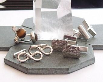 Silver Cufflinks , Silver Cuff Links , Infinity Cuff links , Tiger's Eye Cuff links , Sterling Silver Cuff links , Hallmarked , UK