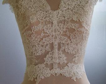 Wedding bolero, jacket of lace, short sleeve,  alencon . Unique beautiful, romantic bridal jacket, bolero ABIGAIL