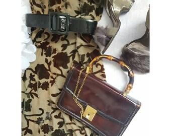 Vintage Bamboo Top Handle Chain Lock and Key. Womens, handbags,  purses, bamboo, shoes, sac cuir vintage bolso piel calvin klein, bags, keys