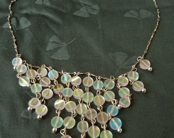 FINAL MARKDOWN Amazing Art Deco Silver Plated Frosted Green And Blue Iridescent Beads Drip Bib Necklace.