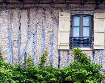 rustic window art, medieval French house, farmhouse decor, French country cottage photo, brown neutral wall art, Europe travel photograph
