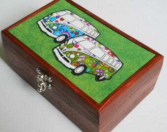 VW campervan decorated/Gift/ jewellery/storage box