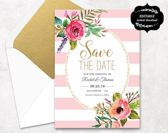 Blush Pink Floral Save the Date Card Template, Printable Save the Date Card, Instant Download - EDITABLE Text - 5x7, STD0018