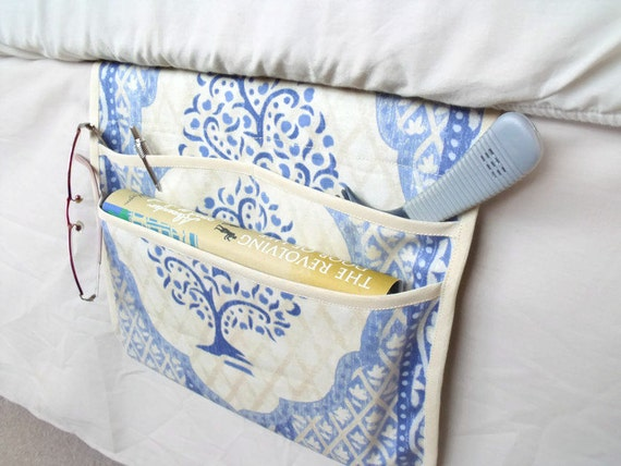 bed pocket, bed caddy, storage organizer, bed tidy, pink bed organizer, bed storage, denim blue and cream cotton fabric
