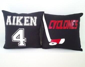 Hockey team gifts, personalized hockey pillow, hockey girl, hockey boy