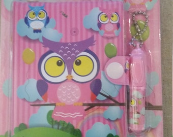 Kawaii owl padded notebook with pen