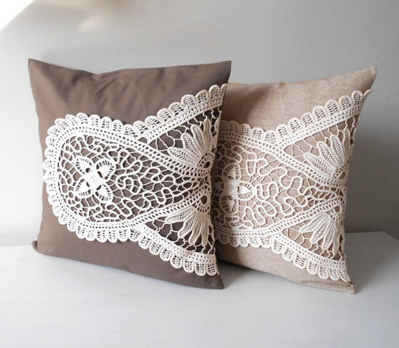 Shabby Chic Decorative Pillows : Shabby Chic Pillow Set Lace Pillow Covers Rustic Home Decor