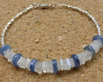 Moonstone Bracelet Stacking Bracelet Minimalist Hill Tribe Silver Bracelet Kyanite Bracelet Gemstone Jewellery Artisan Boho Sterling Silver