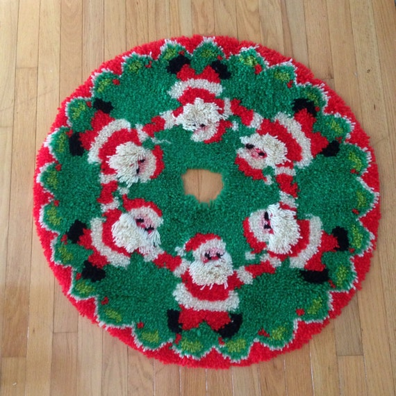 Sale vintage santa hooked christmas tree skirt red green