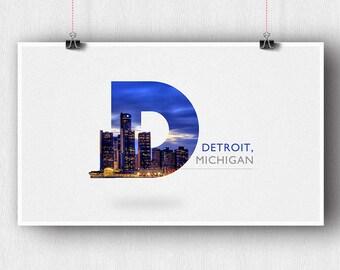 Detroit D Skyline Poster