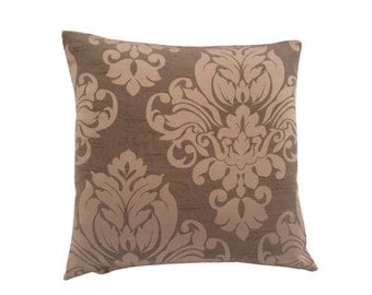 Stunning hand made mocha beige brown cushion cove/ pillow case designer Damask fabric faux silk Home,Kitchen,Sofa,Lounge,Bedroom,Living room