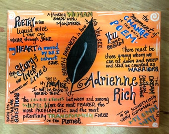 Poetry Painting, Adrienne Rich, hand-painted 11x14 canvas